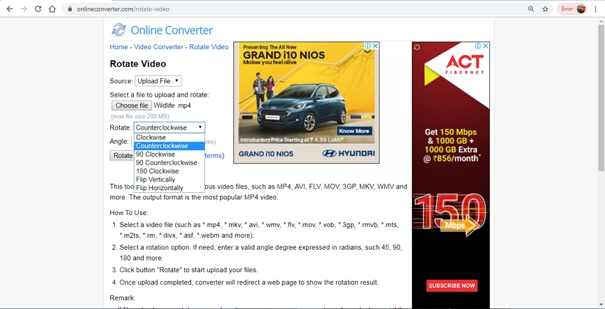 Rotate Video Tool-Online Converter
