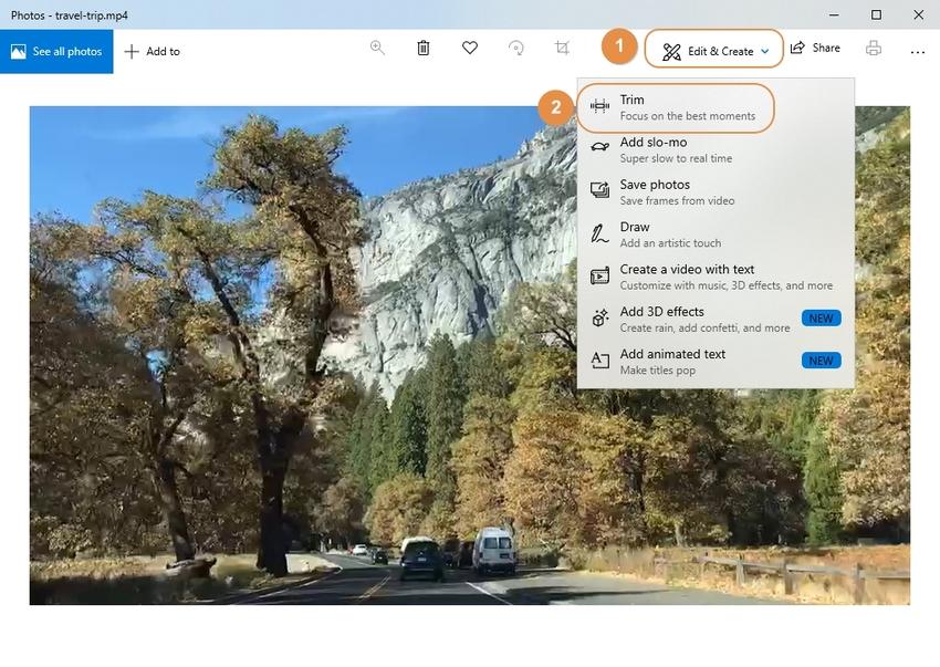 click trim option to trim MP4 in Photos