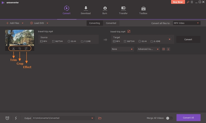 select trim feature to trim MP4 in UniConverter