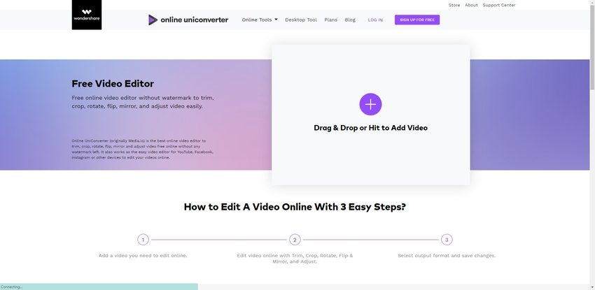 Online Uniconverter for crop a video