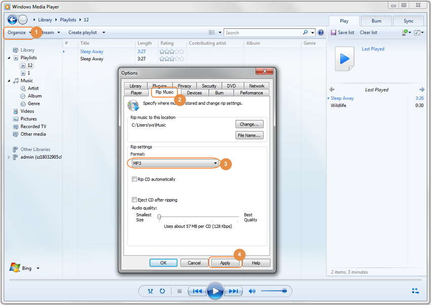 convert WAV to MP3 with Windows Media Player